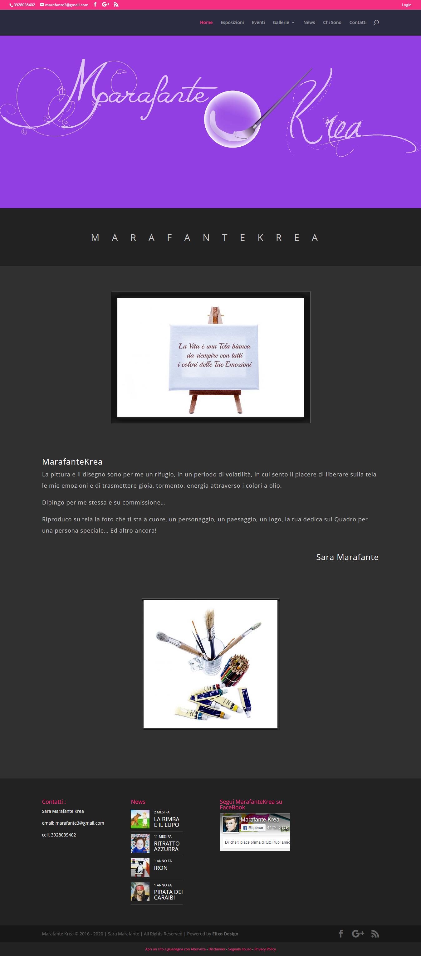 esempio di home page per artista pittore