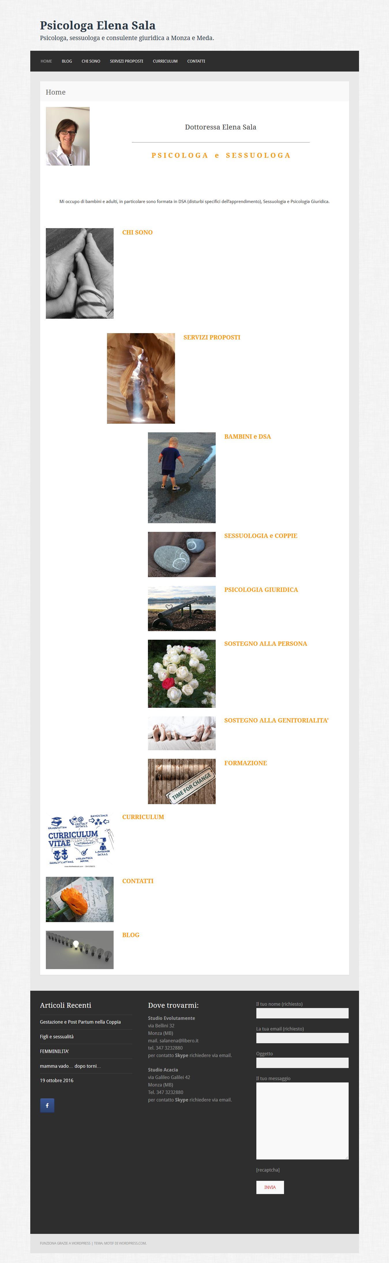 esempio di home page per un professionista