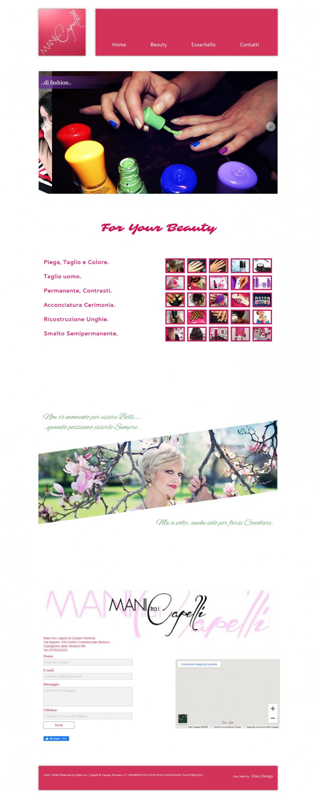 esempio di home page per un parrucchiere o estetista