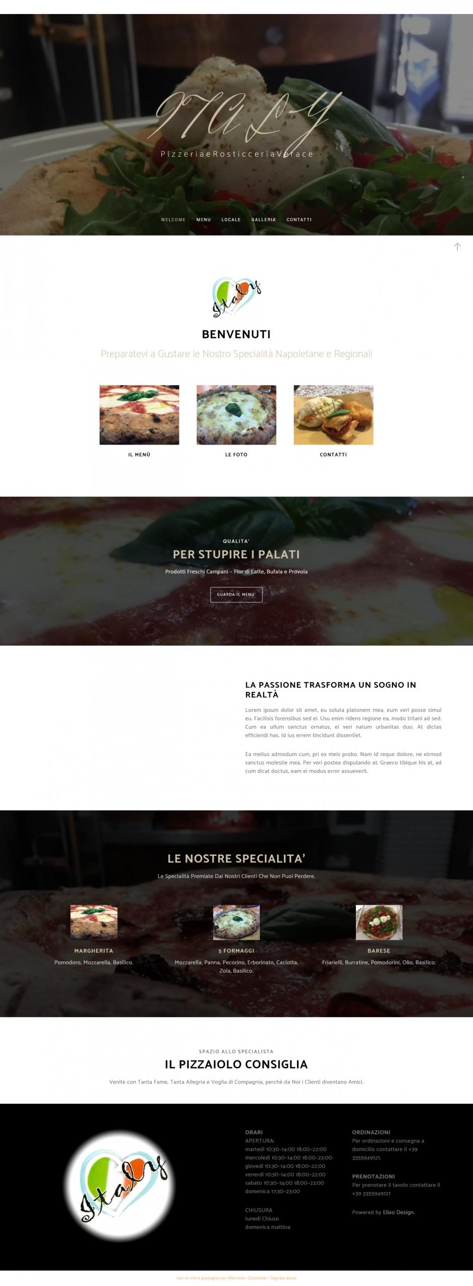 esempio di home page per un ristorante o pizzeria